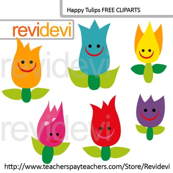 Free Clip art Happy Tulips - Flower clipart by Revidevi