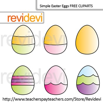 Free Clip art / Simple Easter Eggs Hunt (set of 6)