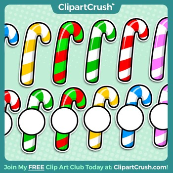 Royalty Free Clipart - Christmas Candy Cane Icons, Accents, Labels!