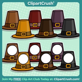 Royalty Free Clipart - Thanksgiving Pilgrim Hat Icons, Accents, Labels!