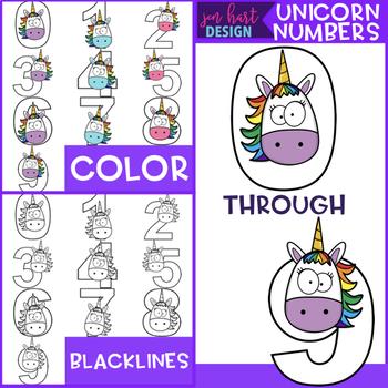 Unicorn Clip Art Numbers FREEBIE {jen hart Clip Art}
