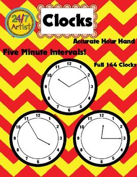 Clock Face Clip Art - Five Minute Intervals/ Over 144 Clocks!