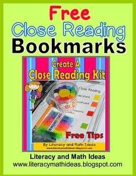 Free Close Reading Bookmarks