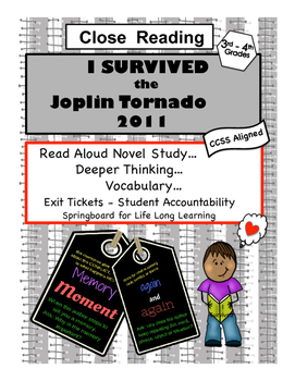 Free - Close Reading - Novel Study - I Survived the Joplin Tornado 2011