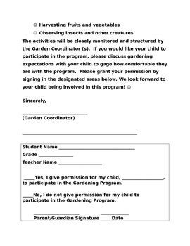 Garden Club Permission Letter  Permission Letter
