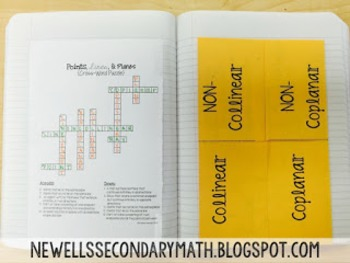 Free Collinear and Coplanar Foldable for Geometry Interactive Notebook