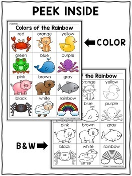 Word Work - Color Chart