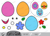 Color, Cut & Glue , Easter eggs, Jpeg and Png