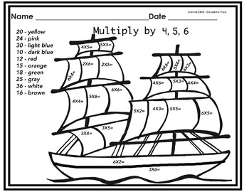 Free Sample Color by Multiplication Facts - Multiply by 4 5 6 - No Prep