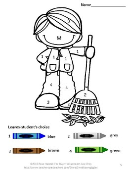 Free: Color by Number Fall  Kindergarten Special Education Fine Motor Skills