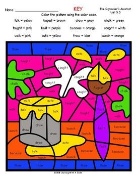 Free Color by Word ~ Vowel Patterns: aw, au, augh, al