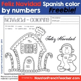 Spanish Christmas Activity - Feliz Navidad - Color by numb