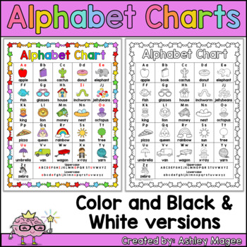 Free Colorful Alphabet Chart (black & white version included too!)