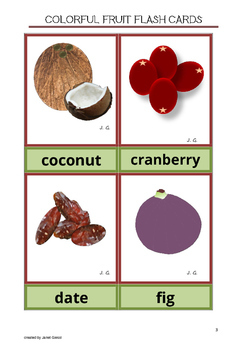Free Colorful Fruit Flash Cards