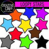 {Free} Colorful Loopy Stars {Creative Clips Digital Clipart}