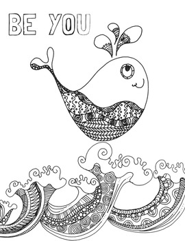 Free Coloring Page Positive Affirmation Zentangle Tpt