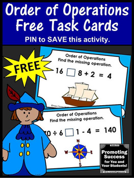 FREE Order of Operations Task Cards, 5th Grade Math Review, Columbus Day Math