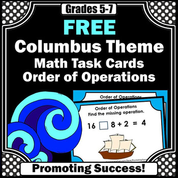 Columbus Day Math FREE Order of Operation Activities & Games Task Cards