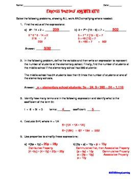 Free Common Core Expressions Quiz