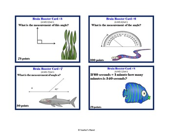 Free 4th Grade Math Brain Booster Game/Task Cards Sample