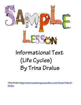Free Common Core Sample Lesson from Informational Text Unit on Life Cycles