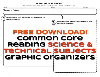 Free Common Core Science RST 1 and RST 2 Graphic Organizers