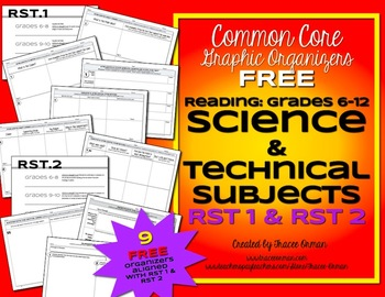 Free Science RST 1 and RST 2 Graphic Organizers