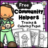 Free Community Helpers Tracing and Coloring Pages