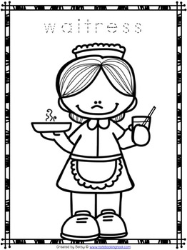 Free Community Helpers Tracing and Coloring Pages by The