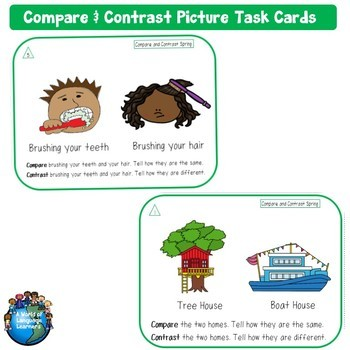 Free Compare and Contrast Picture Task Cards