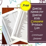 Free Complete Product List : Special Needs for Special Kids