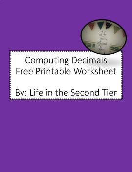 Free Computing Decimals Worksheet
