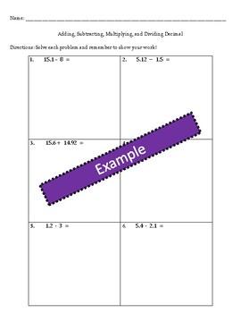 Free Computing Decimals Worksheet with PDF Blanks