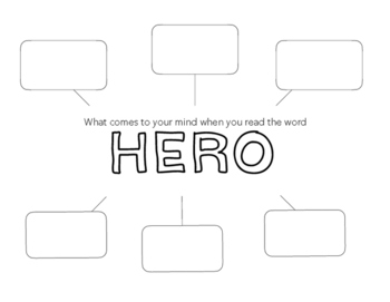 Free! - Concept Map/Brainstorm Worksheet - What is a Hero?