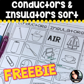 Free Conductor and Insulator Sort FREEBIE Heat Transfer Activity