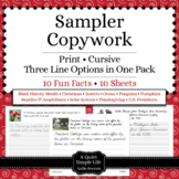Free Copywork Handwriting Sampler - Thematic Unit Plan Extensions