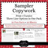 Copywork Handwriting Sampler - Thematic Unit Plans - Free