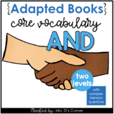 """Free Core Vocabulary """"AND"""" Adapted Books [Level 1 and 2] D"""