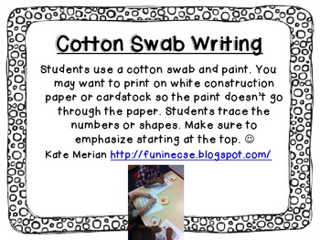 Free Cotton Swab Writing Shapes and Numbers