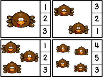 Free Count And Clip Turkeys 1-10