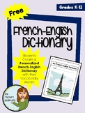 Free - Create a Personalized French-English Dictionary with Vocabulary Words