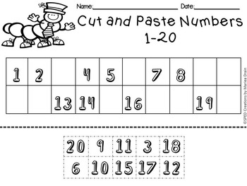 *Free* Cut and Paste Numbers 1-10, 1-20, 1-50, and 1-100