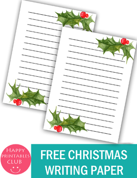 Free- Cute Christmas Writing Paper Printable- Christmas Writing Sheets