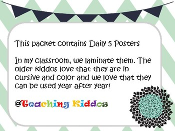 Free Daily 5 Posters in cursive