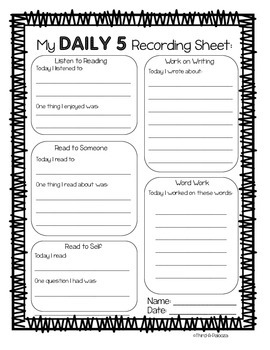 Free Daily 5 Student Recording Sheet