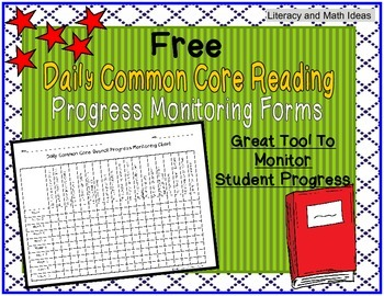 **Free** Daily Common Core Reading Progress Monitoring Chart