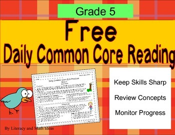 **Free Daily Common Core Reading**Grade 5
