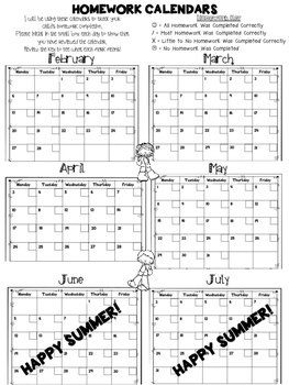 Free Daily Homework Calendars 2016-2017 {Track Homework Completion Each Day!}