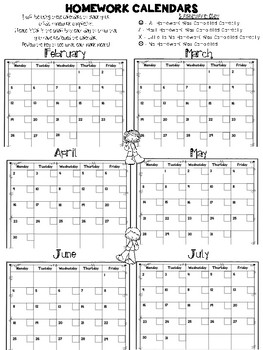 Free Daily Homework Calendars 2017-2018 {Track Homework Completion Each Day!}
