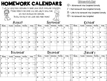 Free Daily Homework Calendars 2014-2015 {Track Homework Completion Each Day!}